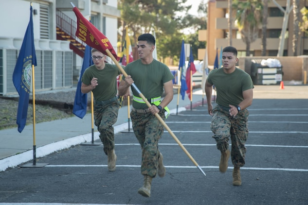 U. S. Marines, with Headquarters and Support Battalion, Marine Corps Base Camp Pendleton, conducted a motivational run, Nov. 8, 2017. Groups of three Marines will be running two miles each, totaling 242 miles commemorating each year the Marine Corps has been in existence.