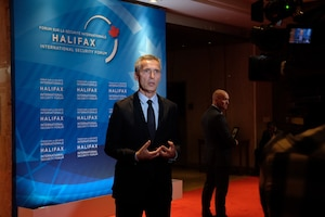 NATO Secretary General Jens Stoltenberg conducts a TV interview during the Halifax International Security Summit, Nov. 17, 2017. NATO photo
