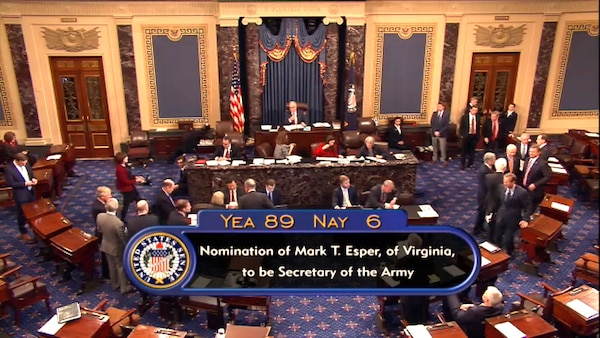 Dr. Mark T. Esper testified before the Senate Armed Services Committee, Nov. 2, 2017, as part of his confirmation hearing. On Nov. 15, 2017, Esper was confirmed by a vote in the Senate, 89-6, to become the 23rd secretary of the Army.
