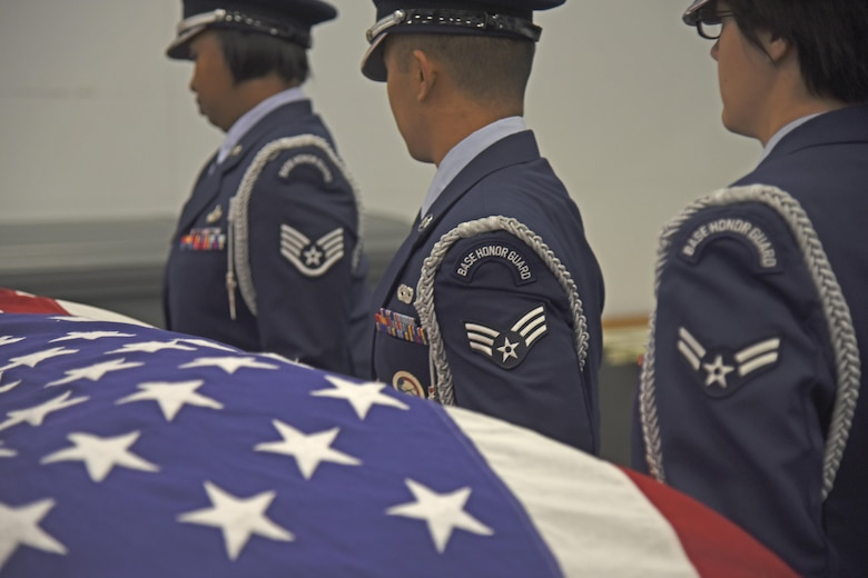 The Fairchild Honor Guard conducts military funeral training Nov. 16, 2017, at Fairchild Air Force Base, Washington. Honor guard's mission is unlike any other, spending upward of 60 hours a week together traveling, training and preparing for ceremonies. With an average of more than 300 military funerals a year, both active duty and veteran, the long hours, constant attention to detail and training can begin to take their toll physically and mentally.(U.S. Air Force photo/Senior Airman Mackenzie Richardson)