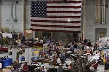 Goodfellow hosts the 37th Santa's Market and Community Appreciation Day, allowing local vendors to set up shops and sell their hand-made wares at the Louis F. Garland Department of Defense Fire Academy high bay on Goodfellow Air Force Base, Texas, Nov. 18, 2017. With more than 4,000 attendees, this was the largest community event on Goodfellow this year. (U.S Air Force photo by Airman 1st Class Zachary Chapman/Released)
