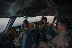 An Air Force KC-10 Extender aircrew flies a mission in support of a new offensive campaign in Afghanistan.