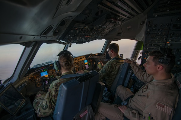 An Air Force KC-10 Extender aircrew flies a mission in support of a new offensive campaign in Afghanistan, Nov. 19, 2017. The crew and aircraft are assigned to the 908th Expeditionary Air Refueling Squadron. Afghan and U.S. forces recently launched a series of ongoing attacks to hit the Taliban where they are most vulnerable: their revenue streams. Missouri Air National Guard photo by Staff Sgt. Colton Elliott