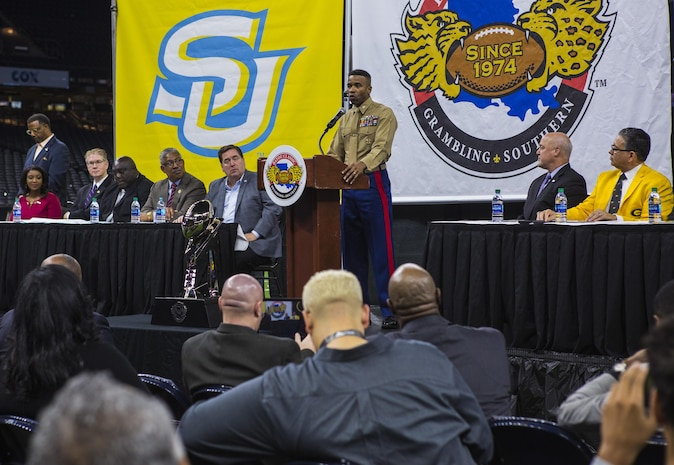 Col. Ricardo Player, Force Headquarters Group chief of staff, Marine Forces Reserve, speaks at the Mayor's Bayou Classic Kick-Off press conference at the Mercedes-Benz Superdome in New Orleans, Nov. 20, 2017.