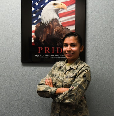 Senior Airman Erika Peralta, 90th Medical Group mental health technician, poses for a photo at F.E. Warren Air Force Base, Wyo., Nov. 15, 2017. Peralta makes the initial contact with patients in order to help them heal from invisible wounds.