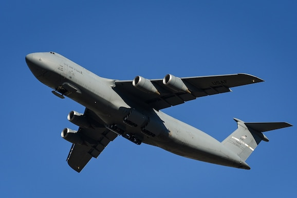 A U.S. C-5M Super Galaxy assigned to the 22nd Airlift Squadron takes off from Travis Air Force Base, Calif., Nov. 18, 2017.