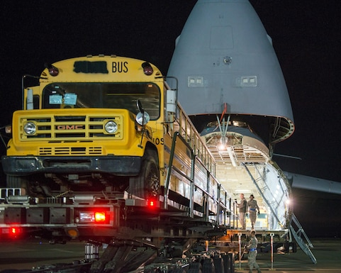 Mobility aircraft deliver buses to Haiti
