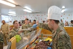 Senior officers serve Thanksgiving meals at Bagram Airfield