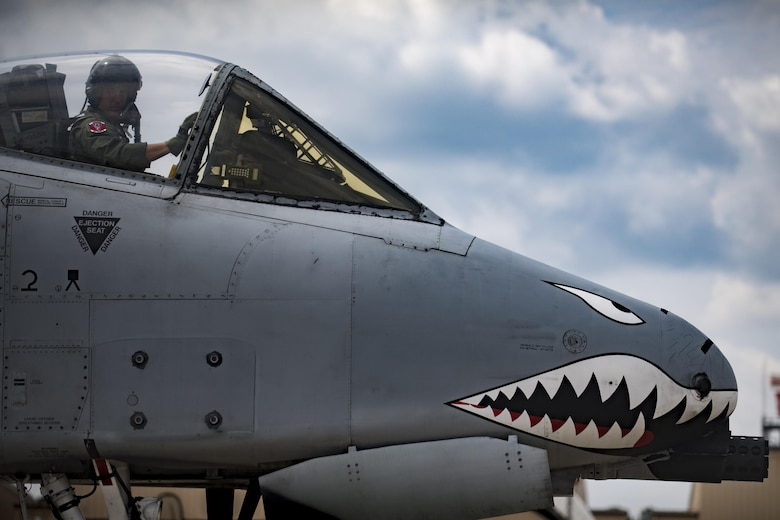 U.S. Air Force Reserve Maj. Matt Paetzhold, 76th Fighter Squadron A-10C Thunderbolt II instructor pilot, taxis an A-10, Sept. 9, 2017, at Moody Air Force Base, Ga. After graduating the Weapons Instructor Course, Paetzhold joined the Airmen who serve as tactical and operational advisors to military leaders at all levels. Due to the relationship between the 75th FS and 76th FS, Paetzhold is slated to deploy as the 75th FSs weapons officer. (U.S. Air Force photo by Senior Airman Daniel Snider)