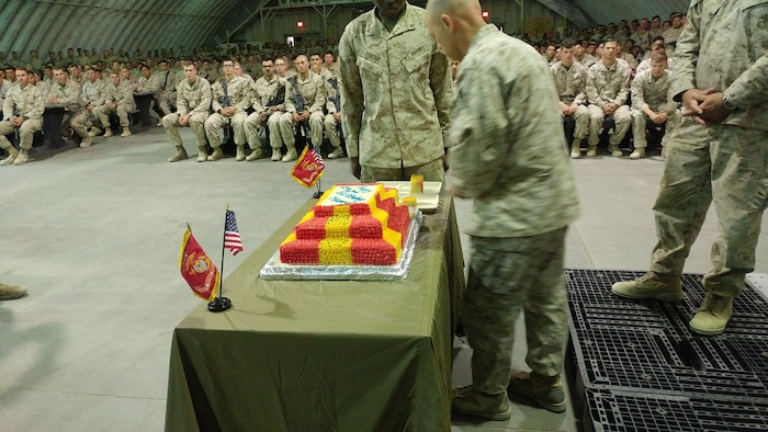 Marines with 5th Marine Regiment perform a cake cutting ceremony in celebration of their 242nd birthday on November 7, 2017, during Integrated Training Exercise 1-18.