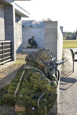 Members of participating units conduct a scenario at Colmar Urban Training Center during Bold Quest 17.2. This demonstration collected both technical data on systems and subjective judgments from the warfighters using them. Nearly 1,800 personnel from the U.S. Armed Services, National Guard, NATO Headquarters and 16 partner nations participated on site and from distributed locations.
