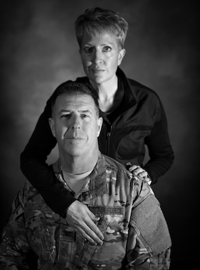 Susi Boudreaux and her husband, Col. John Boudreaux, have been married for over 28 years. In September 2016, John suffered an out-of-hospital cardiac arrest requiring quadruple heart bypass surgery, a situation less than one percent of victims live through. For months, Susi bathed, fed and cared for John as he was incapable from caring for himself. (U.S. Air Force photo by Senior Airman Lane T. Plummer)