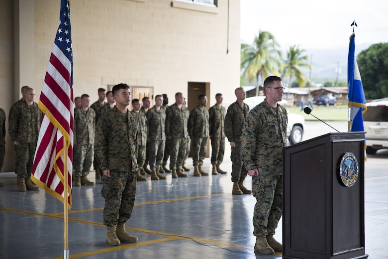 Marines with Special Purpose Marine Air-Ground Task Force - Southern Command stand at attention for the U.S. and Honduran national anthems during a closing ceremony at Soto Cano Air Base, Honduras, Nov. 8, 2017. The unit held a closing ceremony to wrap up their six-month deployment to Central America and to thank interagency and international partners for their support. The Marines and sailors of SPMAGTF-SC have completed a successful deployment in Central America and are scheduled to return to the United States in mid-November 2017.