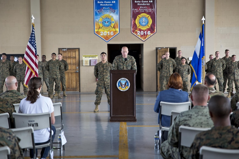 U.S. Marine Col. Michael V. Samarov, the commander of Special Purpose Marine Air-Ground Task Force - Southern Command, speaks during a closing ceremony at Soto Cano Air Base, Honduras, Nov. 8, 2017. The unit held a closing ceremony to wrap up their six-month deployment to Central America and to thank interagency and international partners for their support. The Marines and sailors of SPMAGTF-SC have completed a successful deployment in Central America and are scheduled to return to the United States in mid-November 2017.