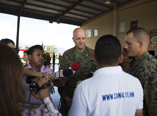 U.S. Col. Michael V. Samarov, the commander of Special Purpose Marine Air-Ground Task Force - Southern Command, answers questions from Honduran press members after a closing ceremony at Soto Cano Air Base, Honduras, Nov. 8, 2017. The unit held a closing ceremony to wrap up their six-month deployment to Central America and to thank interagency and international partners for their support. The Marines and sailors of SPMAGTF-SC have completed a successful deployment in Central America and are scheduled to return to the United States in mid-November 2017.