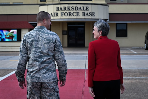 Secretary of the Air Force Heather Wilson walks with Col. Ty. Neuman, 2nd Bomb Wing commander at Barksdale Air Force Base, La., Nov. 14, 2017. This was Wilson's first visit to Barksdale as the SECAF. During her visit, she toured various locations on base meeting with Airmen. (U.S. Air Force photo by Senior Airman Mozer O. Da Cunha)
