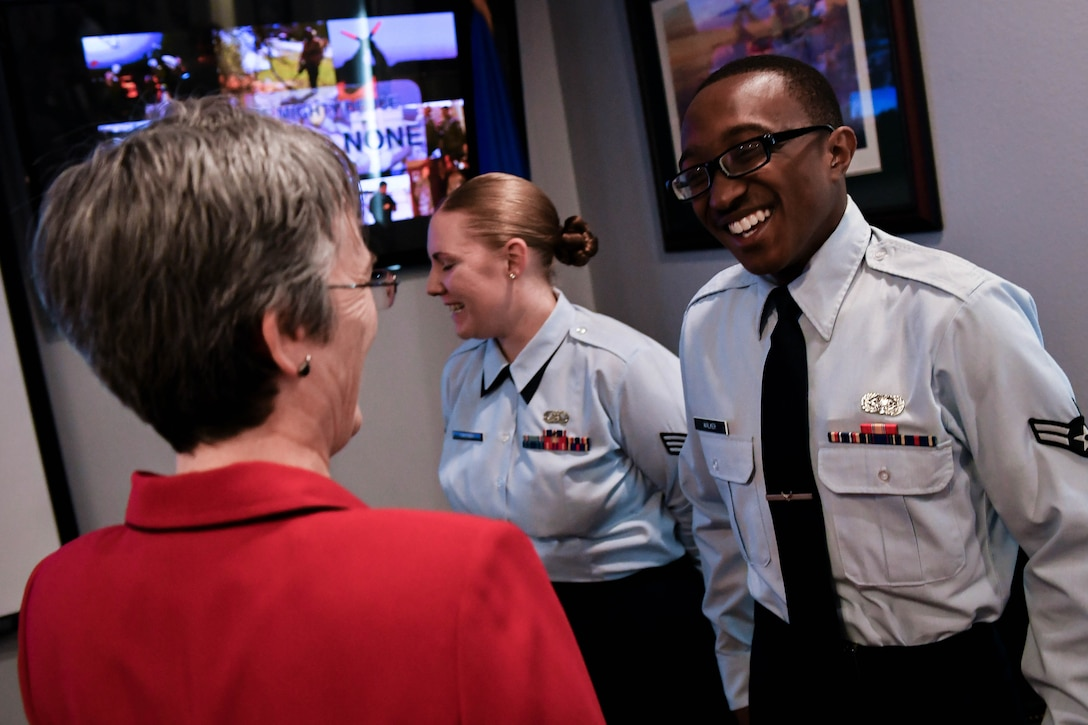Secretary of the Air Force Heather Wilson, Left, speaks with Barksdale Airmen during a base tour at Barksdale Air Force Base, La., Nov. 14, 2017. As part of her tour, Wilson met with Airmen from various organizations on base. (U.S. Air Force photo by Senior Airman Mozer O. Da Cunha)