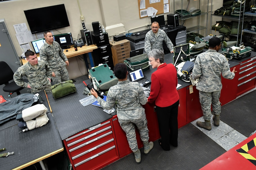 Secretary of the Air Force Heather Wilson speaks to 2nd Operations Support Squadron aircrew flight equipment Airmen during a tour at Barksdale Air Force Base, La., Nov. 14, 2017. During her visit, Wilson was briefed on aircrew flight equipment Airmen responsible for the parachutes and survival kits meant to bring the aircrew to safety in the case of an egress. (U.S. Air Force photo by Senior Airman Mozer O. Da Cunha)