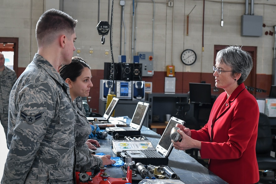 Secretary of the Air Force Heather Wilson speaks to 2nd Maintenance Squadron Airmen during a tour at Barksdale Air Force Base, La., Nov. 14, 2017. During her visit, Wilson visited Barksdale's bomber hydraulic centralized repair facility. The newly derived unit, which has only been at Barksdale since 2015, is able to accommodate assets from the B-52 Stratofortress, the B-1 Lancer and the B-2 Spirit. The new facility saved Air Force Global Strike Command over 13$ million dollars so far in 2017.