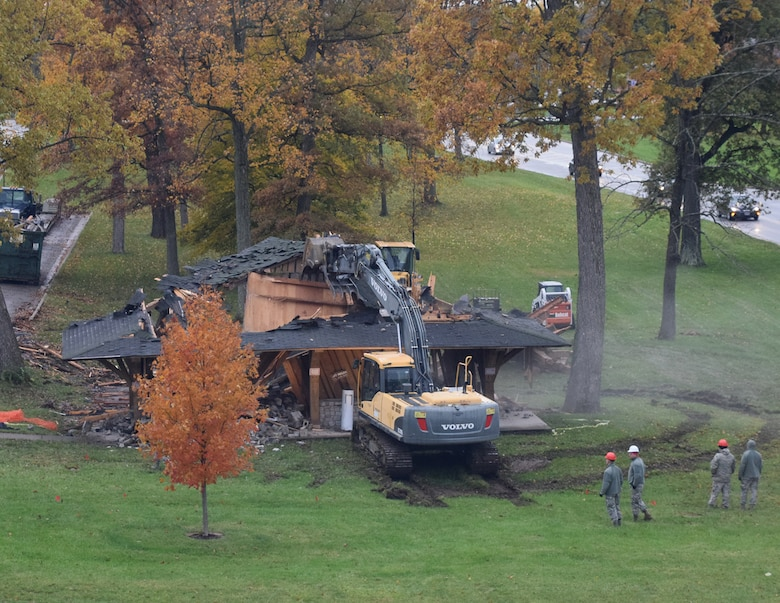 WRIGHT-PATTERSON AIR FORCE BASE, Ohio – 200th RED HORSE Detachment 1 Airmen begin the demolition of a condemned pavilion at the Air Force Institute of Technology Nov. 17, 2017. 200 RHS is using the demolition and subsequent construction of a new pavilion as a cooperative training exercise along with AFIT students and faculty. (U.S. Air Force photo/Katie Scott)