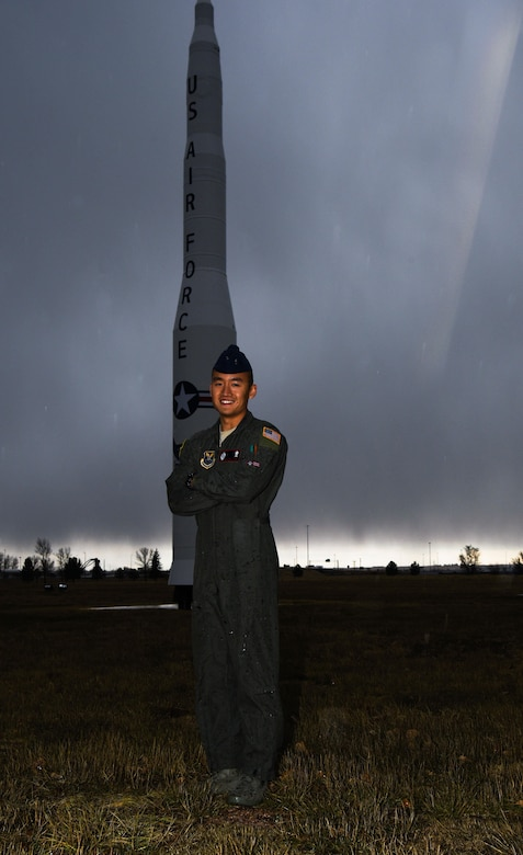 1st Lt. Alexander Tran, 320th Missile Squadron deputy missile combat crew commander, poses for a photo at F.E. Warren Air Force Base, Wyo. Nov. 17, 2017. Tran chose to join the Air Force because of his family's sacrifices during and after the Vietnam War, and he strives to exemplify the same standards of excellence and dedication to duty that he respected in his grandfather.