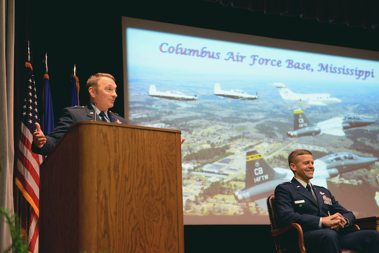 Brig. Gen. David W. Hicks speaks at Specialized Undergraduate Pilot Training Class 18-02's graduation Nov. 17, 2017, on Columbus Air Force Base, Mississippi. Hicks is the Director of Strategy, Concepts, and Assessments, Deputy Chief of Staff for Strategic Plans and Requirements, Headquarters U.S. Air Force in Washington, D.C. (U.S. Air Force photo by Airman 1st Class Keith Holcomb)