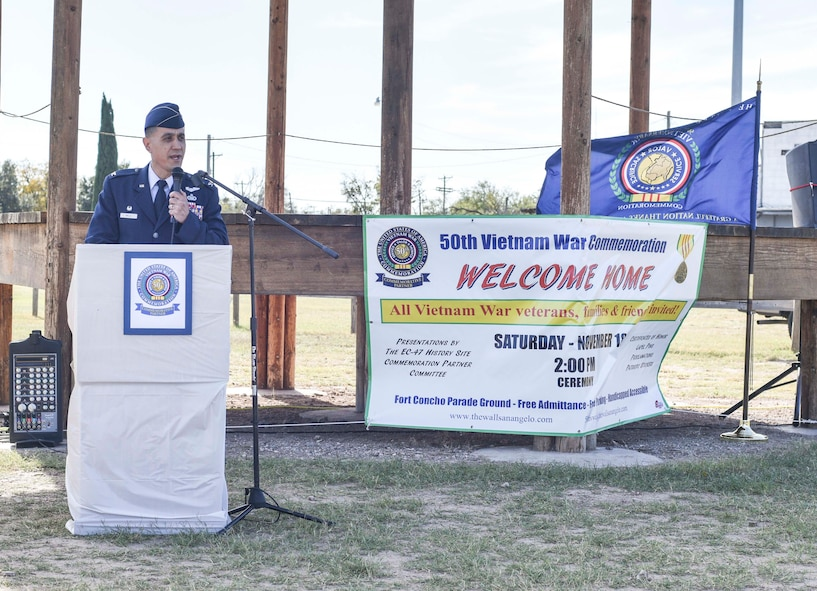 U.S. Air Force Col. Ricky Mills, 17th Training Wing commander, speaks during the 50th Vietnam War Commemoration at the Fort Concho parade ground in San Angelo, Texas, Nov. 18, 2017.  Mills made note of the 11 buildings on Goodfellow that are named in recognition of Vietnam veterans, including Albert Tijerina. (U.S. photo by Airman 1st Class Randall Moose/released)