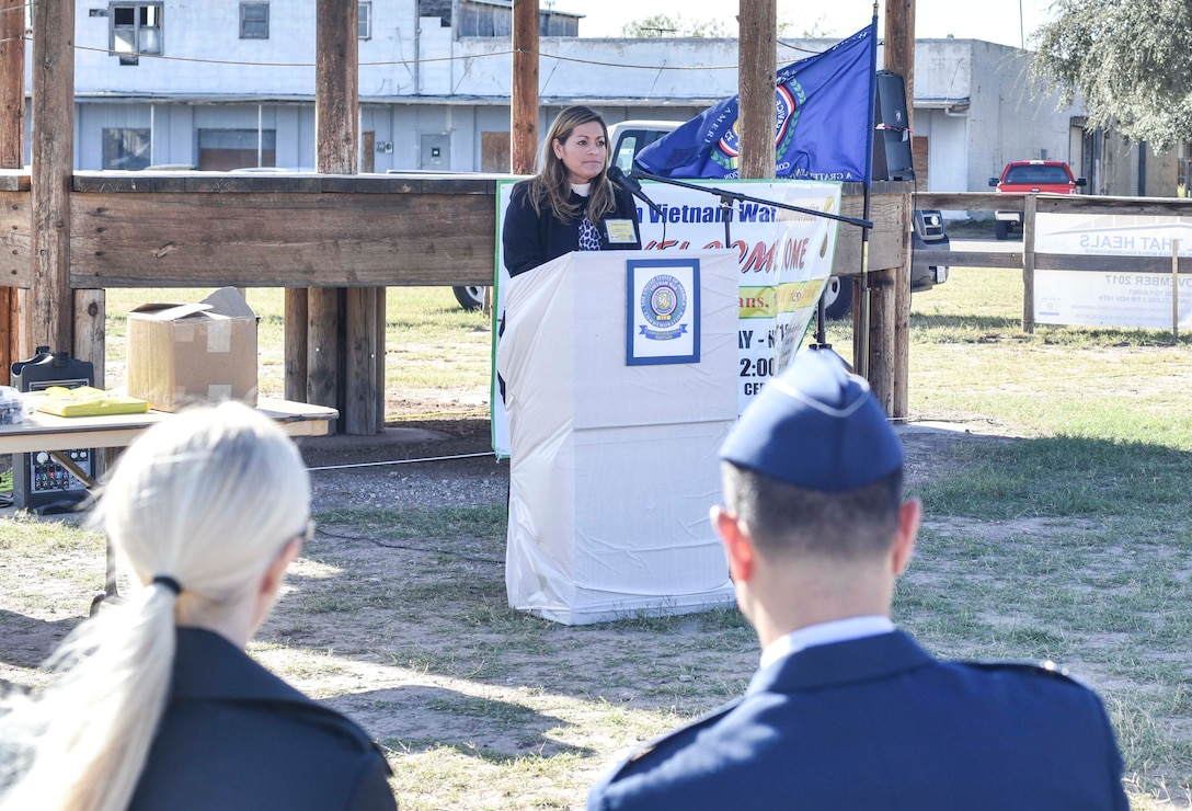 Debra Tijerina Brown, Gold Star Daughter, speaks during the 50th Vietnam War Commemoration at the Fort Concho parade ground in San Angelo, Texas, Nov. 18, 2017. Brown received the Gold Star in recognition of her father, Albert Tijerina, who died in 1971 when Brown was three years old. (U.S. photo by Airman 1st Class Randall Moose/released)