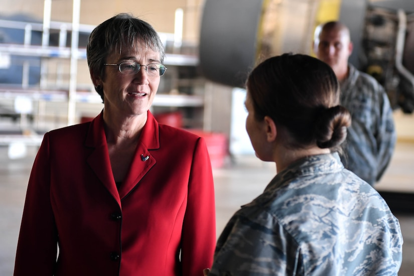 Secretary of the Air Force Heather Wilson is briefed by 2nd Maintenance Squadron Airmen during a tour at Barksdale Air Force Base, La., Nov. 14, 2017. During the tour Wilson reiterated the importance of readiness, modernization and innovation in order to remain the greatest Air Force in the world. (U.S. Air Force photo by Senior Airman Mozer O. Da Cunha)