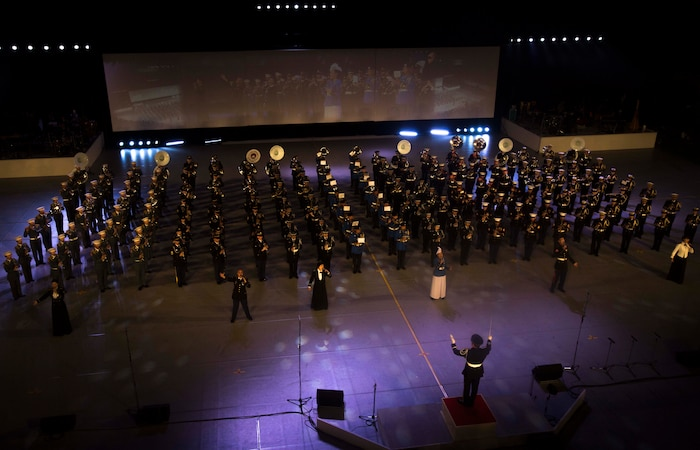 The Japan Ground Self-Defense Force Band, the III Marine Expeditionary Force Band, and the U.S. Army Japan Band, perform Nov. 14, 2017, at the Nippon Budokan Arena in Tokyo during the Japan Self-Defense Force Marching Band Festival. The festival provides an opportunity for military bands from the U.S., Thailand, and Japan to bond through music and military culture. (U.S. Marine Corps photo by Cpl. Andrew Neumann)