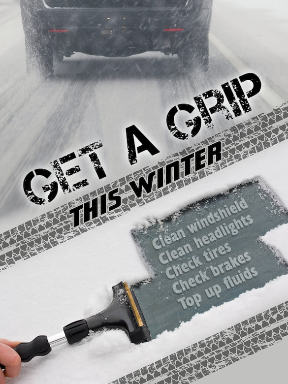 Get a Grip this Winter poster was produced for winter drive safety campaign.