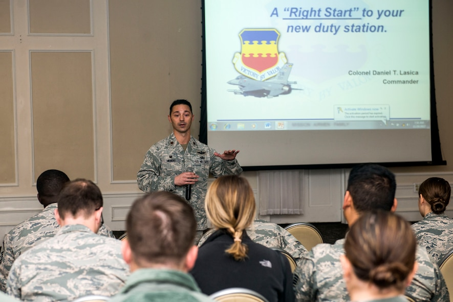 U.S. Air Force Maj. Darryl Hebert, 20th Force Support Squadron commander, speaks prior to introducing 20th Fighter Wing (FW) leadership during the Right Start Welcome Weasels program at the Carolina Skies Club and Conference Center at Shaw Air Force Base, South Carolina, Nov. 20, 2017.