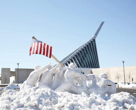 When it snows people's creativity comes out.  Here is a snow sculpture of Iwo Jima created at the National Museum of the Marine Corps by a Marine.