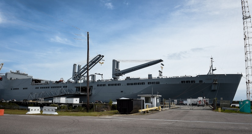 The USNS Charlton is docked pierside at Alpha Wharf on Joint Base Charleston's Weapons Station, Nov. 21, 2017.