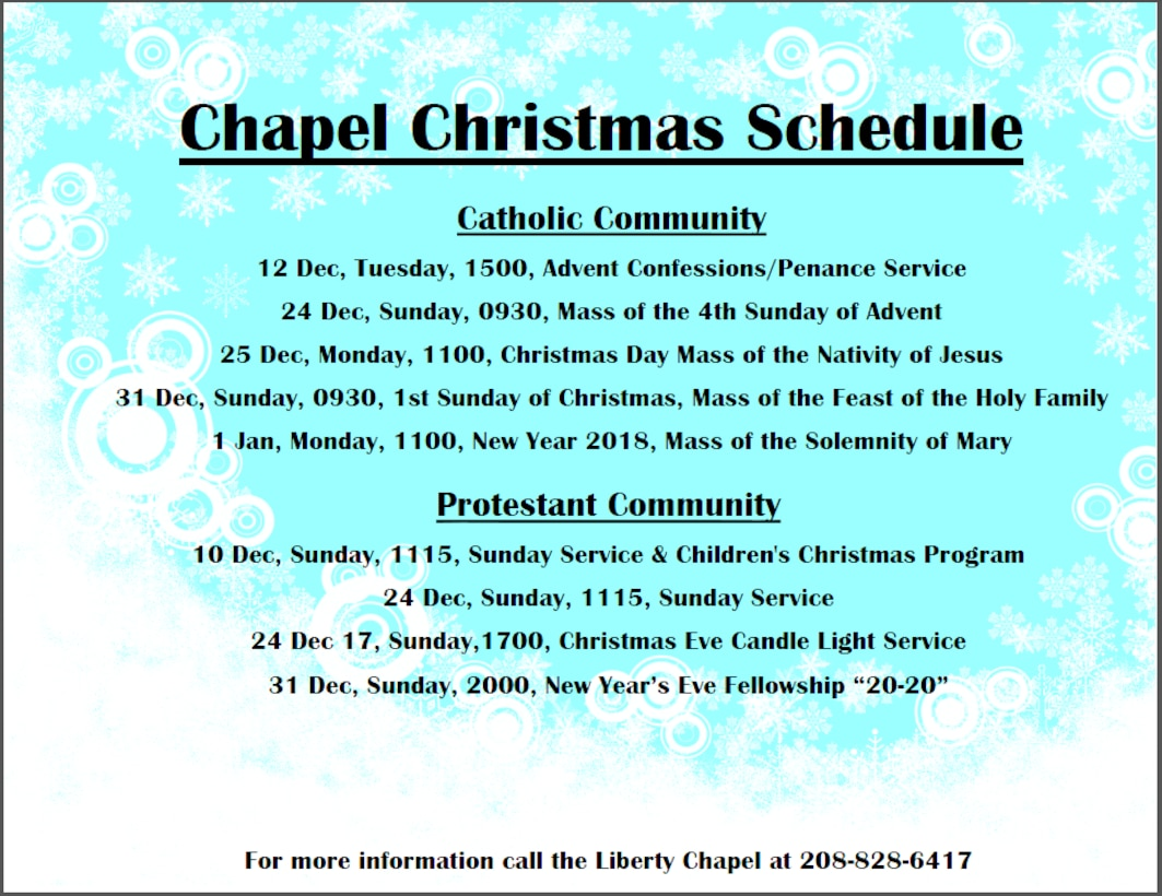 Schedule for the 2017 Christmas Schedule at Mountain Home Air Force Base, Idaho.