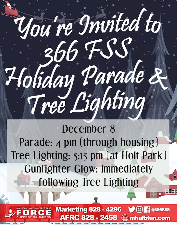 Schedule of events for the 2017 Holiday Parade & Tree lighting at Mountain Home Air Force Base, Idaho.