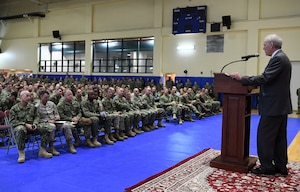 Secretary of the Navy Richard V. Spencer speaks to Sailors and Marines as part of a visit to the 5th Fleet Area of Operations.