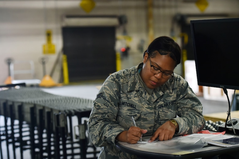 Senior Airman Gelissa Mitchell, 628th Logistics Readiness Squadron documented cargo, prepares to deliver logistics goods at the 437th Aerial Port Squadron Nov. 14, 2017, at Joint Base Charleston, S.C. The 628th LRS transported approximately 130 pallets weighing roughly 38 short tons and issued about two million gallons of fuel for aircraft and ground vehicles in support of Hurricane Maria relief efforts to Puerto Rico.