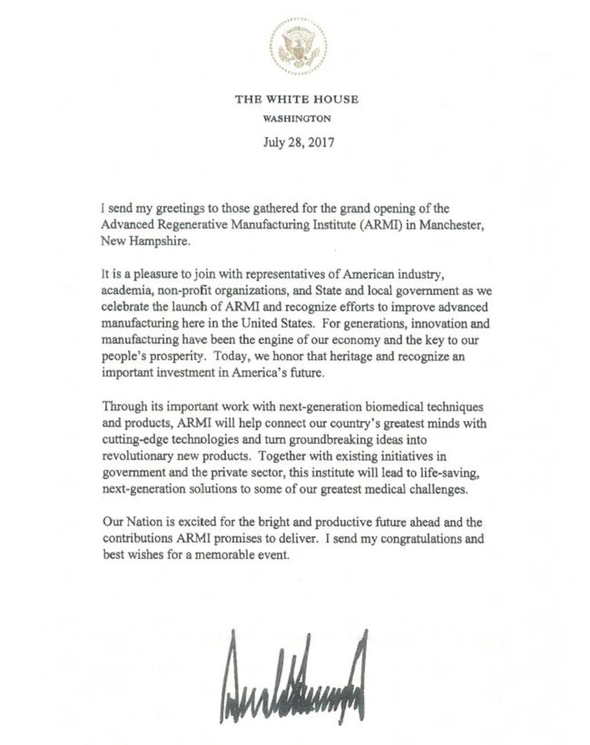BioFabUSA Presidential Letter