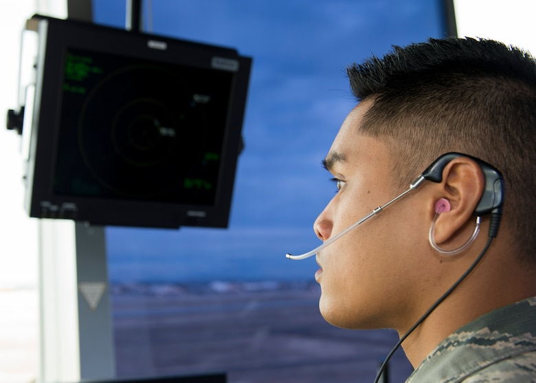 Airman 1st Class Alan Lucero, 92nd Operations Support Squadron air traffic controller, checks the Doppler radar during Exercise Global Thunder 2018 at Fairchild Air Force Base, Washington, Nov. 1, 2017. Global Thunder is an annual U.S. Strategic Command (USSTRATCOM) exercise designed to provide training opportunities to test and validate command, control and operational procedures. The training is based on a notional scenario developed to drive execution of USSTRATCOM and component forces' ability to support the geographic combatant commands, deter adversaries and, if necessary, employ forces as directed by the President of the United States. (U.S. Air Force photo/Senior Airman Ryan Lackey)