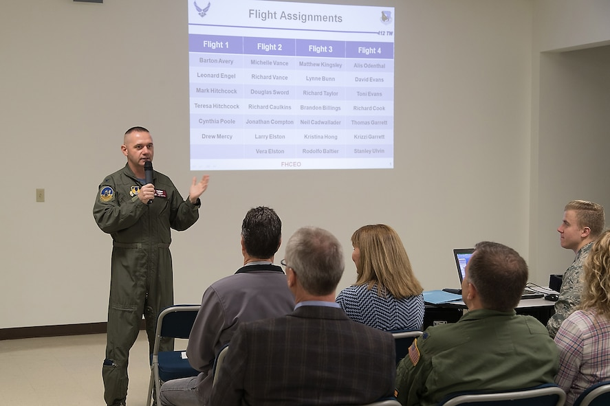 Colonel Leland Davis, 412th Electronic Warfare Group commander, briefs the four flights of honorary commanders on their flight simulator missions during a visit to the Integrated Facility for Avionics Systems Testing facility. (U.S. Air Force photo by Don Allen)