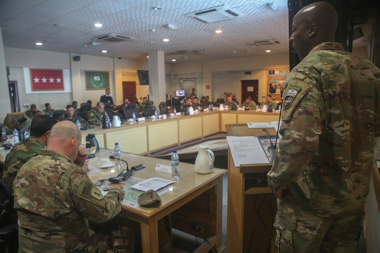 U.S. Army Command Sgt. Maj. David M. Clark, right, the sergeant major of Resolute Support Mission, speaks to senior enlisted U.S. and Afghan National Defense and Security Force leaders during a warfighter forum at Resolute Support Headquarters in Kabul, Afghanistan, Nov. 15, 2017. The warfighter forum brought together command sergeants major from throughout the Afghan National Army and Afghan National Police as well as their U.S. counterparts to discuss current challenges and areas for improvement within the services in preparation for the Spring 2018 fighting season. (U.S. Marine Corps photo by Sgt. Lucas Hopkins)