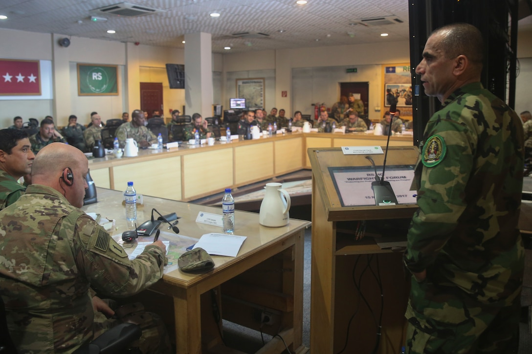 Afghan National Army Command Sgt. Maj. Roshan, right, the senior enlisted advisor to the President of Afghanistan, offers remarks to U.S. and Afghan military personnel during a warfighter forum at Resolute Support Headquarters in Kabul, Afghanistan, Nov. 15, 2017. The warfighter forum was a two-day event bringing together senior enlisted leaders from the Afghan National Defense and Security Forces and their U.S. counterparts to discuss solutions to challenges such as accountability, mortuary affairs and female integration in order to further professionalize the Afghan forces. (U.S. Marine Corps photo by Sgt. Lucas Hopkins)