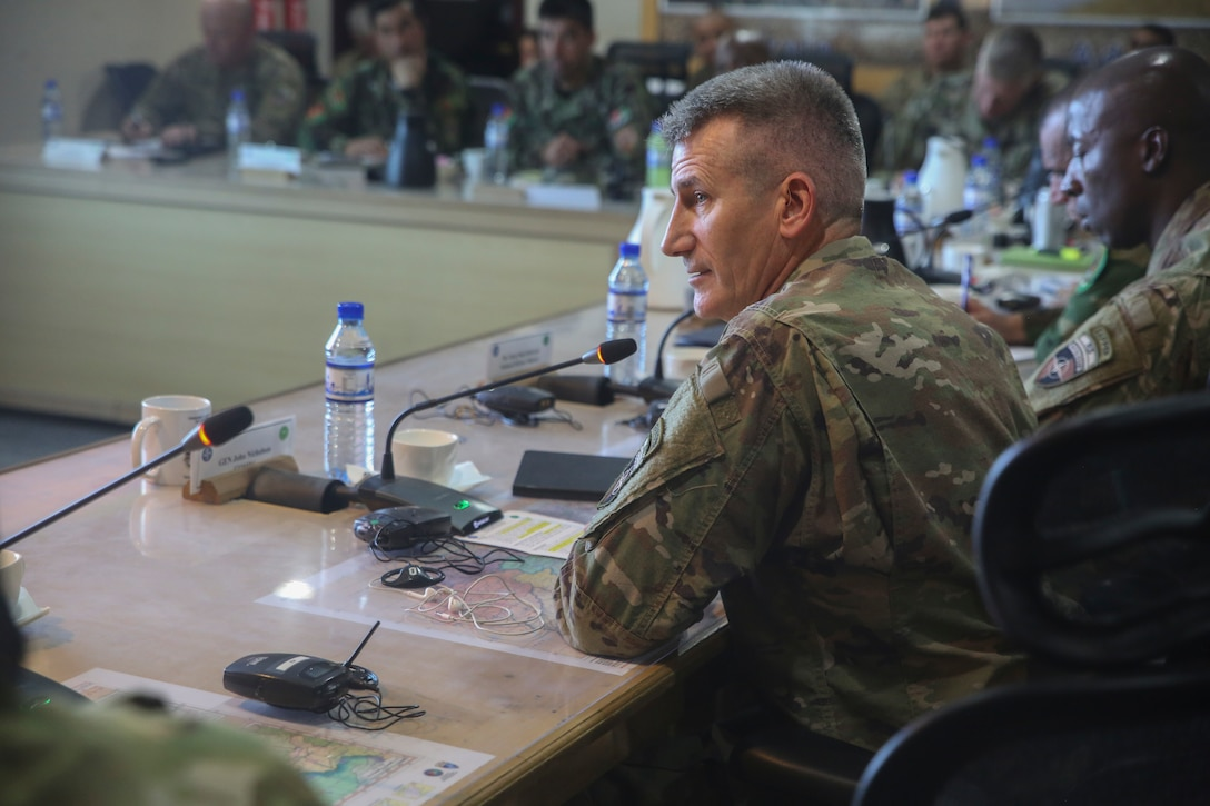 U.S. Army Gen. John Nicholson, the commanding general of Resolute Support Mission, offers remarks during a warfighter forum at Resolute Support Headquarters in Kabul, Afghanistan, Nov. 15, 2017. The forum was a two-day event which saw senior enlisted U.S. and Afghan National Defense and Security Force leaders congregate to discuss challenges and potential solutions throughout the Afghan services. (U.S. Marine Corps photo by Sgt. Lucas Hopkins)