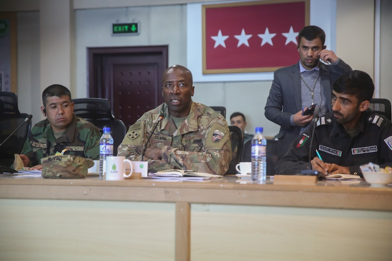 U.S. Army Command Sgt. Maj. David M. Clark, center, the sergeant major of Resolute Support Mission, discusses current areas for improvement within the Afghan armed services during a warfighter forum at Resolute Support Headquarters in Kabul, Afghanistan, Nov. 15, 2017. The warfighter forum brought together sergeants major and other senior enlisted leaders from the Afghan National Army, Afghan National Police and their U.S. counterparts in an effort to continue building the professionalism of the Afghan National Defense and Security Forces in preparation for the Spring 2018 fighting season. (U.S. Marine Corps photo by Sgt. Lucas Hopkins)