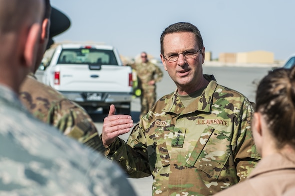 Gen. Lengyel, Chief of National Guard Bureau, checks in with Guardsmen deployed to Qatar