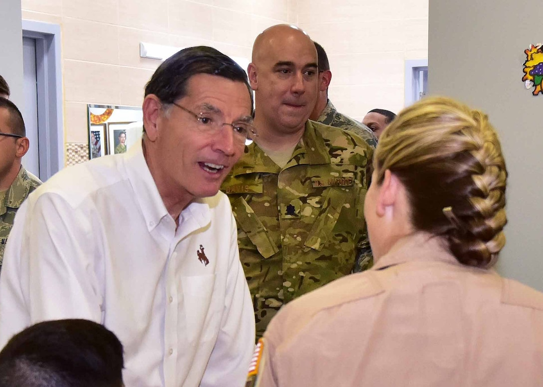 """""""The visit with Senator Barrasso was very productive [in regard] to updating him on the impact we are having on the mission of the 386th Air Expeditionary Wing,"""" said Lt. Col. Todd Davis, 737th EAS director of operations. """"More importantly, he was provided information on how our deployed members from the Wyoming ANG have been supporting the 386th Expeditionary Operations Group and 386th Expeditionary Maintenance Group since we arrived to our deployed location."""""""