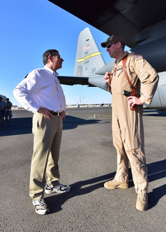 """The visit with Senator Barrasso was very productive [in regard] to updating him on the impact we are having on the mission of the 386th Air Expeditionary Wing,"" said Lt. Col. Todd Davis, 737th EAS director of operations. ""More importantly, he was provided information on how our deployed members from the Wyoming ANG have been supporting the 386th Expeditionary Operations Group and 386th Expeditionary Maintenance Group since we arrived to our deployed location."""