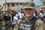 Army Pfc. Roberto Rivera, a military police officer in the Puerto Rico National Guard is shown in a photo taken of him in San Juan.