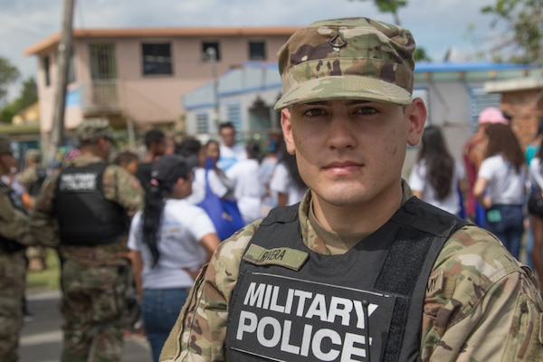 Army Pfc. Roberto Rivera, a military police officer in the Puerto Rico National Guard is shown in a photo taken of him in San Juan, Nov. 11, 2017. Rivera lost his home and all of his belongings due to Hurricanes Irma and Maria. Puerto Rico Army National Guard photo by Spc. Samuel D. Keenan